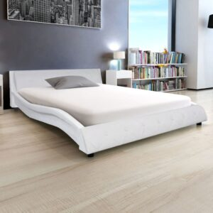 vidaXL Bed Frame Artificial Leather 5FT King Size/150×200 cm White