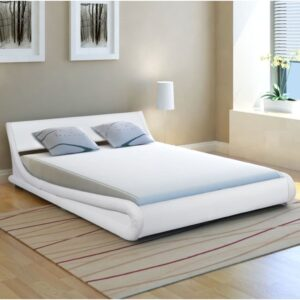 vidaXL Bed Frame 4FT6 Double/135×190 cm Artificial Leather Curl White