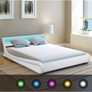 vidaXL Bed Frame with LED 5FT King Size/150×200 cm Artificial Leather