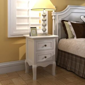 vidaXL Nightstands 4 pcs with 2 Drawers MDF White