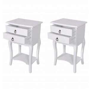 vidaXL Nightstands with Drawers 2 pcs White
