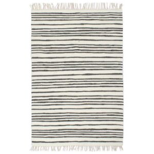 vidaXL Hand-woven Chindi Rug Cotton 120×170 cm Anthracite and White