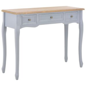 vidaXL Dressing Console Table with 3 Drawers Grey