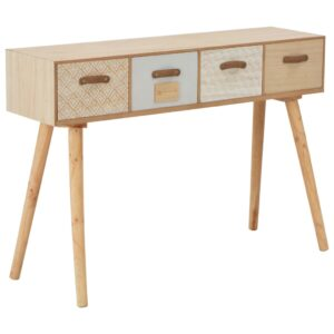vidaXL Console Table with 4 Drawers 110x30x75 cm Solid Pinewood