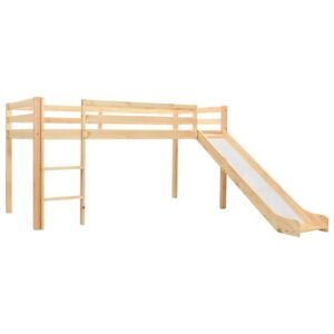 vidaXL Children's Loft Bed Frame with Slide & Ladder Pinewood 97×208 cm
