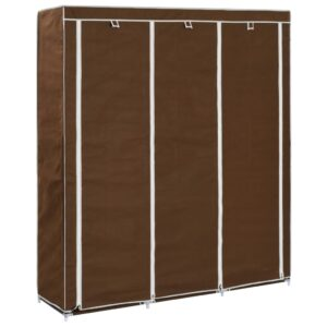 vidaXL Wardrobe with Compartments and Rods Brown 150x45x175 cm Fabric