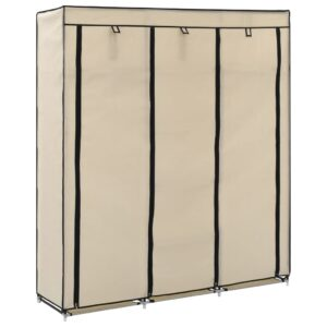 vidaXL Wardrobe with Compartments and Rods Cream 150x45x175 cm Fabric