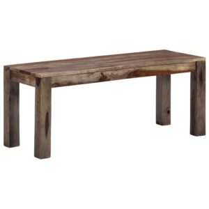 vidaXL Bench 110 cm Grey Solid Sheesham Wood