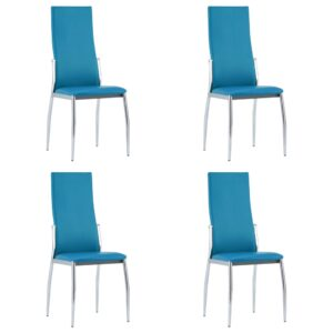 vidaXL Dining Chairs 4 pcs Blue Faux Leather