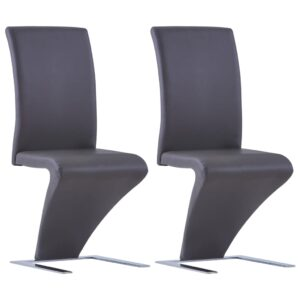 vidaXL Dining Chairs with Zigzag Shape 2 pcs Grey Faux Leather