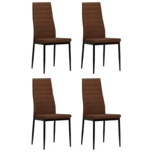 vidaXL Dining Chairs 4 pcs Brown Fabric