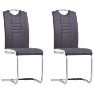 vidaXL Dining Chairs 2 pcs Grey Faux Leather