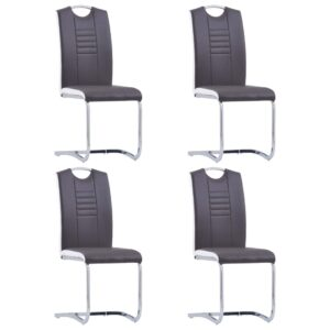 vidaXL Dining Chairs 4 pcs Grey Faux Leather