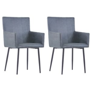 vidaXL Dining Chairs with Armrests 2 pcs Grey Faux Suede Leather