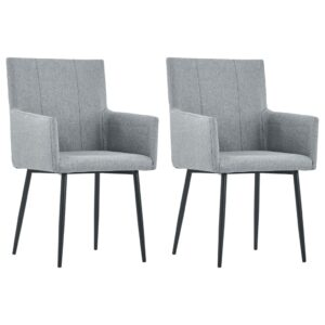 vidaXL Dining Chairs with Armrests 2 pcs Light Grey Fabric