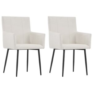 vidaXL Dining Chairs with Armrests 2 pcs Cream Fabric