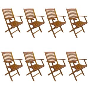 vidaXL Folding Outdoor Chairs 8 pcs Solid Acacia Wood