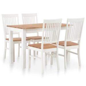 vidaXL 5 Piece Dining Set Solid Oak Wood
