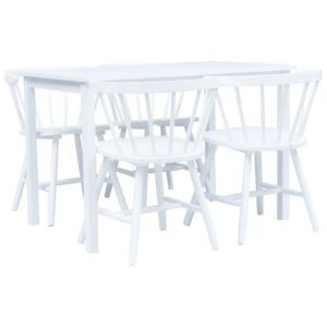 vidaXL 5 Piece Dining Set Solid Rubber Wood White