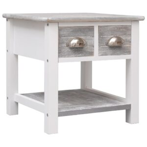 vidaXL Side Table Grey 40x40x40 cm Paulownia Wood