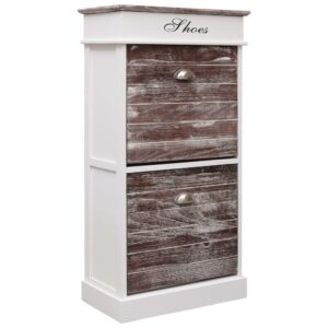 vidaXL Shoe Cabinet Brown 50x28x98 cm Paulownia Wood