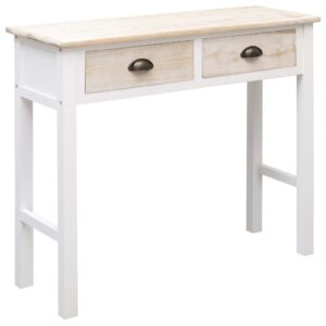 vidaXL Console Table White and Natural 90x30x77 cm Wood