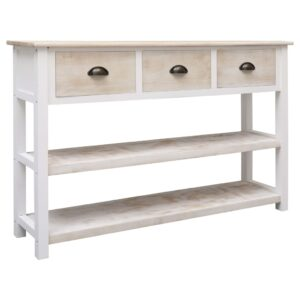vidaXL Sideboard Natural and White 115x30x76 cm Wood