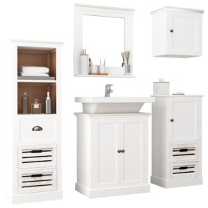 vidaXL 5 Piece Bathroom Furniture Set Solid Wood White