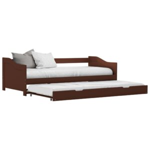 vidaXL Pull-out Sofa Bed Frame Dark Brown Pinewood 90×200 cm