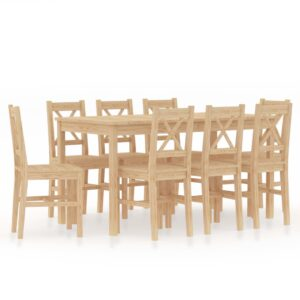 vidaXL 9 Piece Dining Set Pinewood