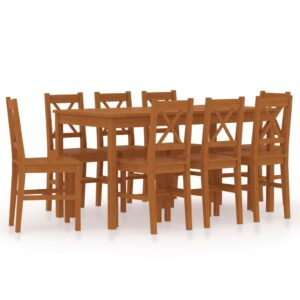 vidaXL 9 Piece Dining Set Pinewood Honey Brown