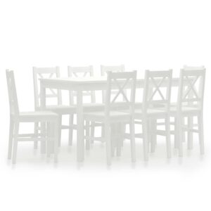 vidaXL 9 Piece Dining Set Pinewood White