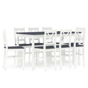 vidaXL 9 Piece Dining Set Pinewood White and Grey
