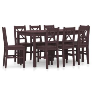 vidaXL 9 Piece Dining Set Pinewood Dark Brown