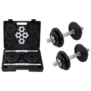 vidaXL 15 Piece Dumbbell set 20 kg Cast Iron