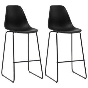 vidaXL Bar Chairs 2 pcs Black Plastic
