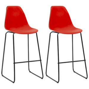 vidaXL Bar Chairs 2 pcs Red Plastic