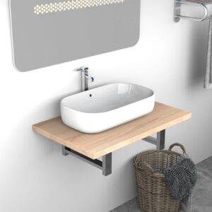 vidaXL Bathroom Wall Shelf for Basin Oak 60x40x16.3 cm