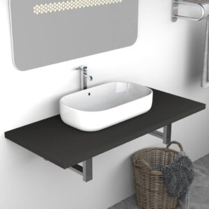 vidaXL Bathroom Wall Shelf for Basin Grey 90x40x16.3 cm
