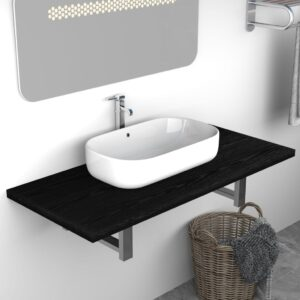 vidaXL Bathroom Wall Shelf for Basin Black 90x40x16.3 cm