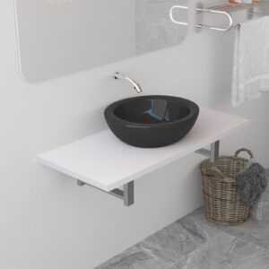 vidaXL Bathroom Wall Shelf for Basin White 90x40x16.3 cm