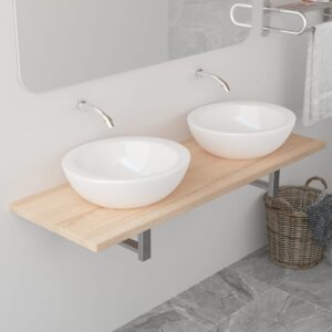 vidaXL Bathroom Wall Shelf for Basin Oak 120x40x16.3 cm