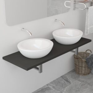 vidaXL Bathroom Wall Shelf for Basin Grey 120x40x16.3 cm