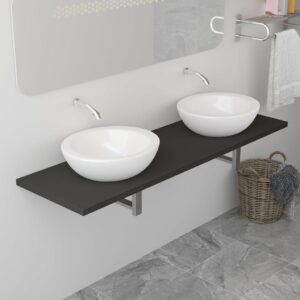 vidaXL Bathroom Wall Shelf for Basin Grey 160x40x16.3 cm