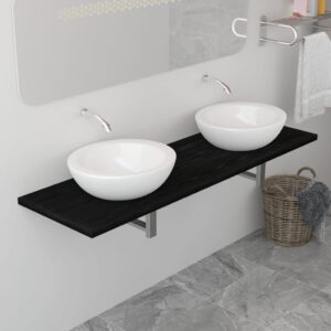 vidaXL Bathroom Wall Shelf for Basin Black 160x40x16.3 cm