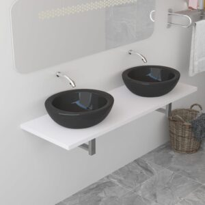 vidaXL Bathroom Wall Shelf for Basin White 160x40x16.3 cm