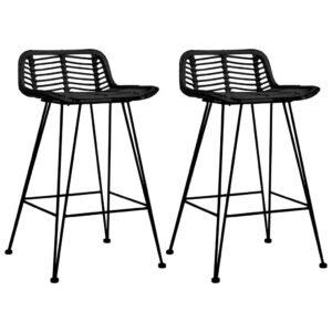 vidaXL Bar Chairs 2 pcs Black Rattan