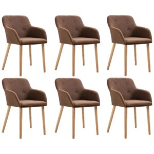 vidaXL Dining Chairs 6 pcs Brown Fabric and Solid Oak Wood