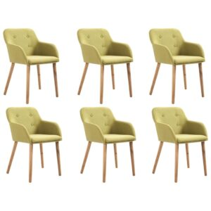vidaXL Dining Chairs 6 pcs Green Fabric and Solid Oak Wood