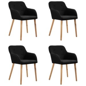 vidaXL Dining Chairs 4 pcs Black Fabric and Solid Oak Wood